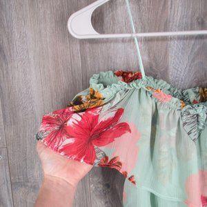 Express Dresses - Express Off Shoulder Maxi Dress Floral Mint XS.